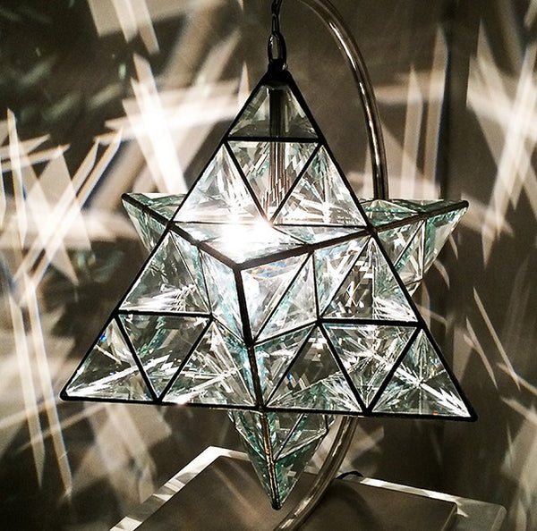 Ariel Star Shaped Pendant Light 36cm & 49cm - Clear Double Bevelled Glass