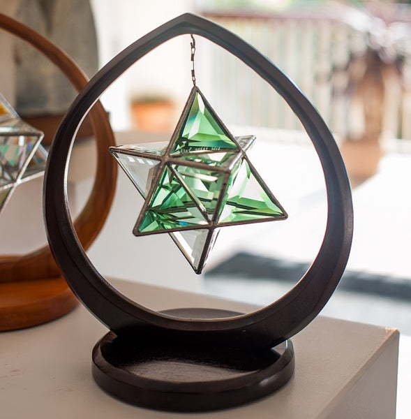 Ariel Geometrica Glass Sculpture in Wooden Pod