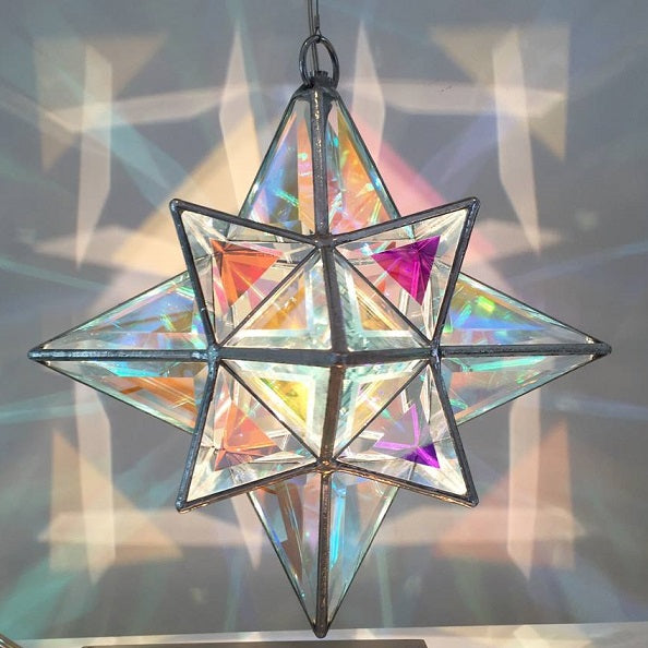 Gemma Geometric Pendant Light  35cm | Dichroic Glass