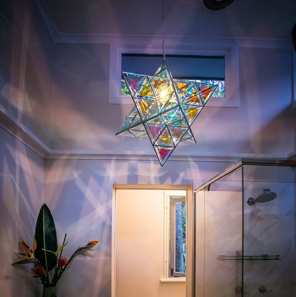 Ariel Luminary Star Shaped Pendant Light 36cm & 45cm | Dichroic Clear Glass