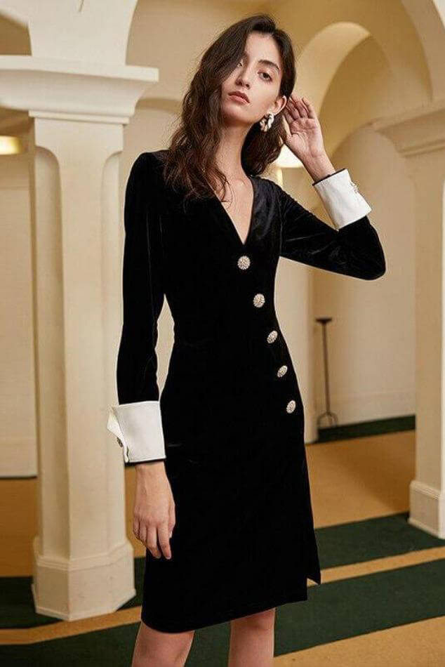 Milan Velvet Button Dress