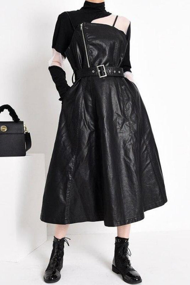 Seoul PU Leather Long Dress