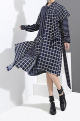 Seoul Plaid Asymmetric Dress