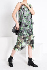 Seoul Printed Irregular Midi Dress