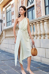 Milan Plaid One Shoulder Dress