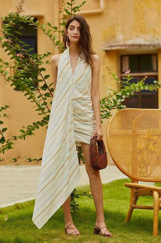 Milan Striped Halter Dress