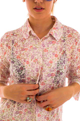 London Vintage Floral Print Shirt-Tops-Wandering I