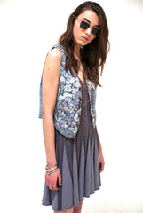 New York Vintage Floral Waistcoat-Tops-Wandering I