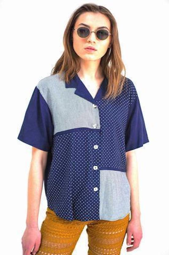 New York Vintage Patchwork Shirt-Tops-Wandering I