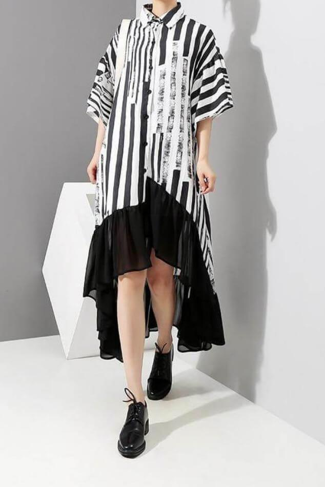 Seoul Asymmetric Shirt Dress-Dress-Wandering I