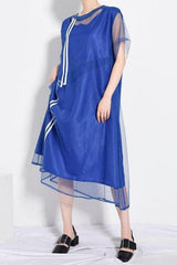 Seoul Blue Mesh Split Dress-Dress-Wandering I
