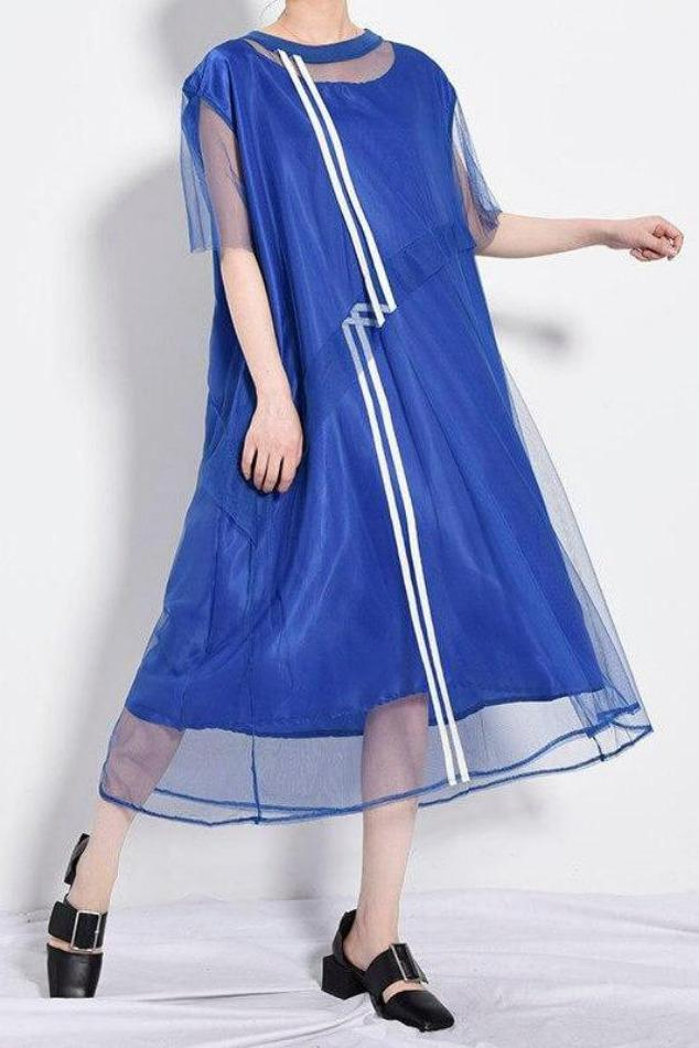 Seoul Blue Mesh Split Dress