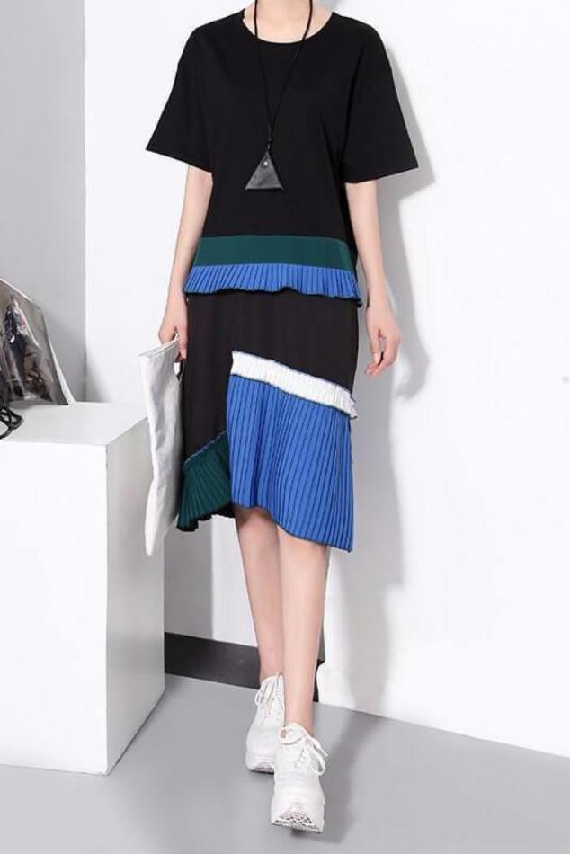 Seoul Colourblock Pleated Dress