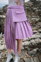 Seoul Pleated Asymmetric Skirt-Bottoms-Wandering I