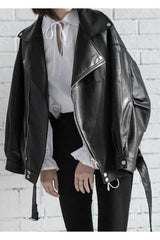[EAM] High Quality 2020 Spring Black PU Leather Loose Turn-down Collar Zipper Fashion New Women's Wild Jacket LA938 xx-Wandering I