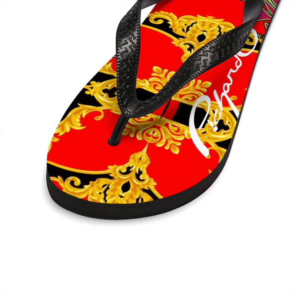 Verano Luxe Flip-Flops Red, Black and Gold (Men's)