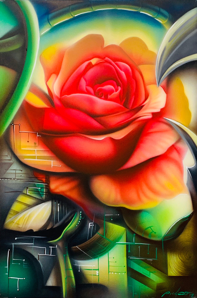 Bionic Rose ORIGINAL PAINTING (Acrylic on Canvas) 24x36