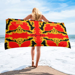 Verano Luxe Towel Red and Gold