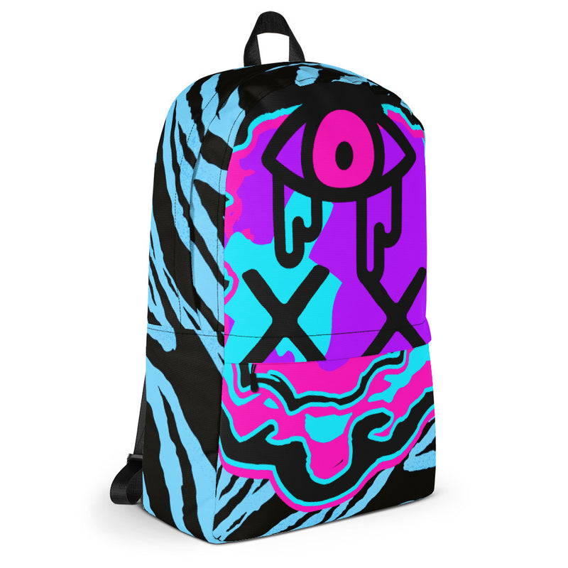 F*cking Weirdo Backpack Purple Neon Face w/ Blue Zebra Print