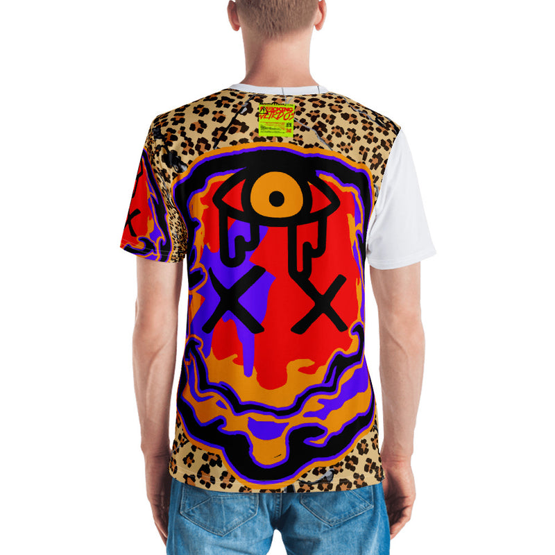 Men's F*cking Weirdo Shirt Red, Blue and Gold w/ Leopard Print