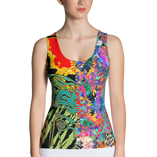 Verano Luxe Tank Red, Gold and Black with Floral (Women's)