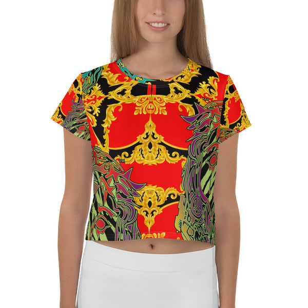 Verano Luxe Crop-Top Tee Red, Gold and Black (Women's)