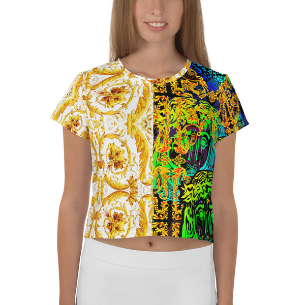 Verano Luxe Crop-Top Tee White and Gold/ Blue and Gold