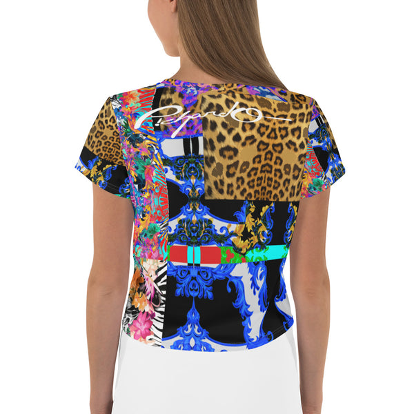 Verano Luxe Crop-Top Tee Blue, Leopard and Floral (Women's)