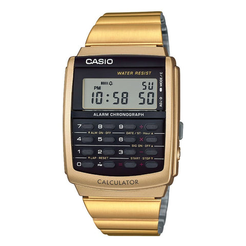 Casio CA506G-9AEF Retro Dual Time Calculator Watch - Gold