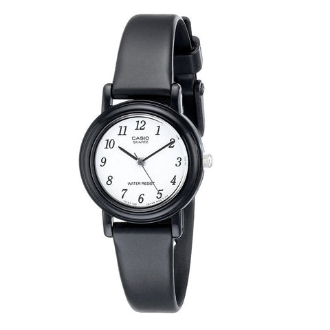 Casio LQ139B-1B Black Analog Leather Watch - www.hirawatch.com - 1