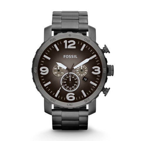 Fossil Nate JR1437 Men's Chronograph Stainless Steel Watch - www.hirawatch.com - 1
