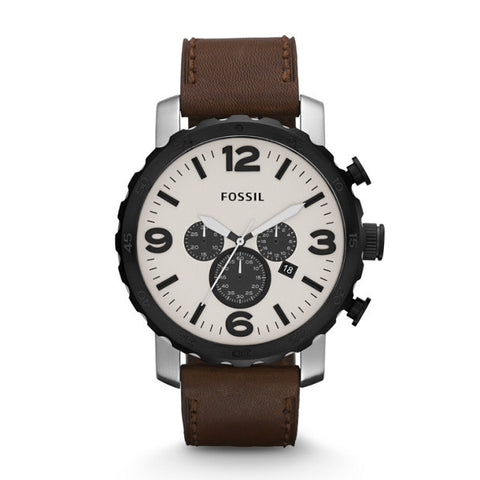 Fossil Nate JR1390 Men's Chronograph Leather Watch - www.hirawatch.com - 1