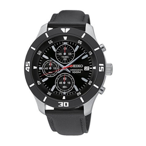 Seiko SKS411 Men's Chronograph Leather Watch - www.hirawatch.com - 1