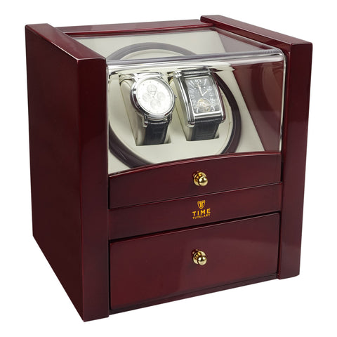 Time Tutelary KA018RD Glossy Red Dual Watch Winder - www.hirawatch.com - 1