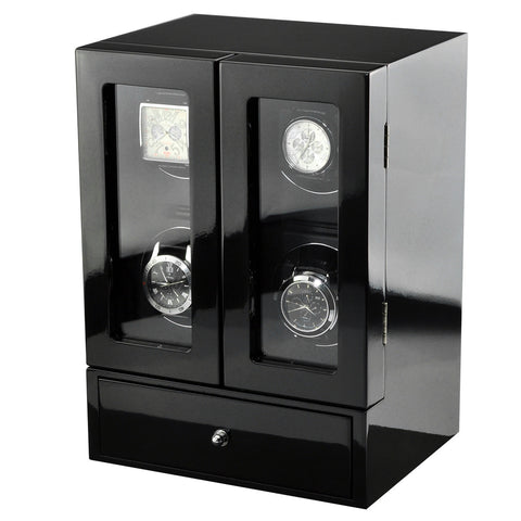 Time Tutelary KA072BK Glossy Black Quad Luxury Watch Winder - www.hirawatch.com - 1