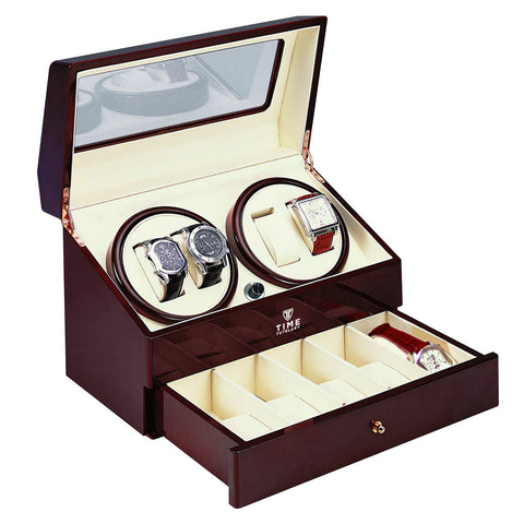Time Tutelary KA074RD Glossy Red Quad Watch Winder - www.hirawatch.com - 1