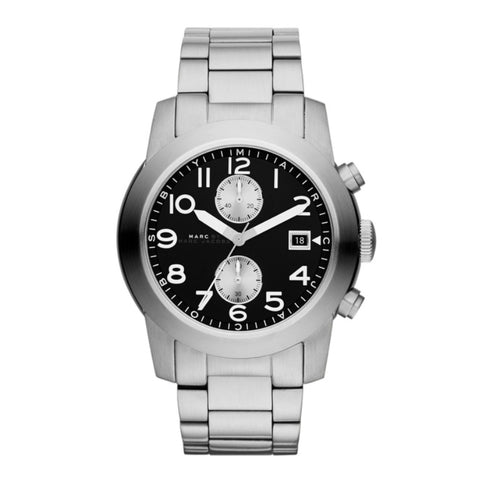 Marc Jacobs MBM5050 Larry Silver Tone Men's Watch Black Dial Fast Ship