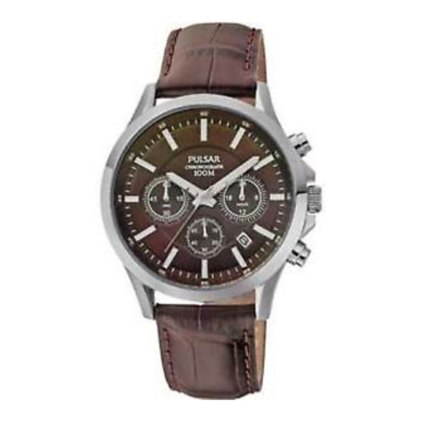 Pulsar by Seiko PT3067X1 Men's Sports Chronograph Watch Brown 100 Metres