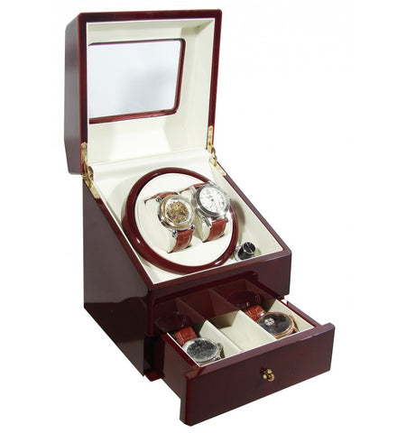Time Tutelary KA073RD Glossy Red Dual Watch Winder - www.hirawatch.com - 1