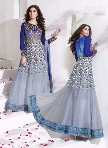 8010 Blue Anarkali Gown