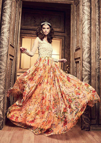 3705 Cream And Yellow Floral Printed Gown