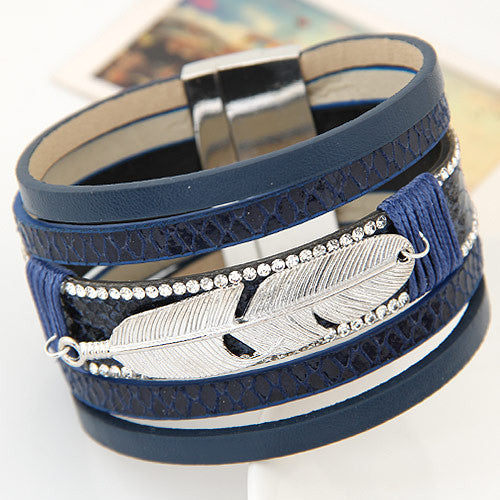 Alloy Feather Leaves Wide Magnetic Leather Bracelet