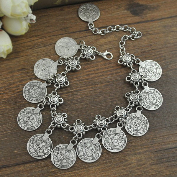 Antique Silver Plated Coin Charming Anklet Jewelry