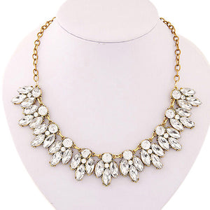 Splendid Womens Bib Statement Luxury Rhinestone Necklace