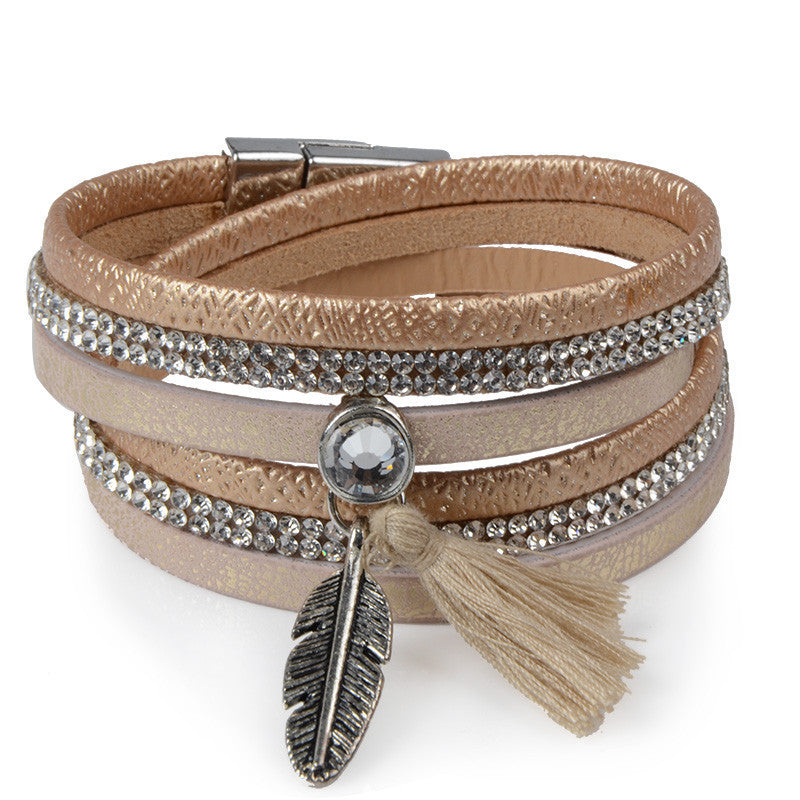 Rhinestone Feather Wide Multilayer Leather Bracelet