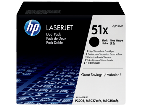 HP 51X 2-pack High Yield Black Original LaserJet Toner Cartridges