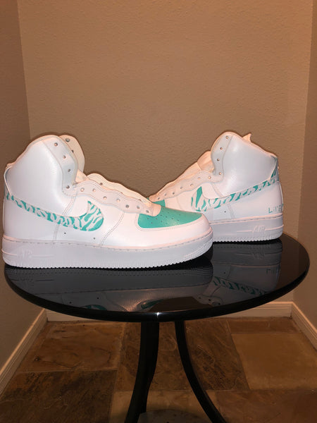 "HAND PAINTED ""TIFFANY'S ZEBRA STRIPES"" SHOES BY LIL' FLIP"