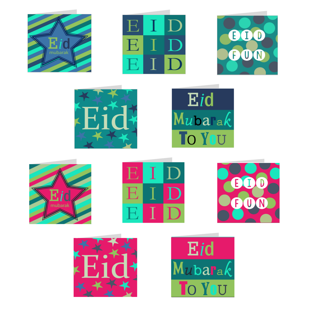 Elaara Eid Cards Multipack - 10 Assorted Greeting Cards