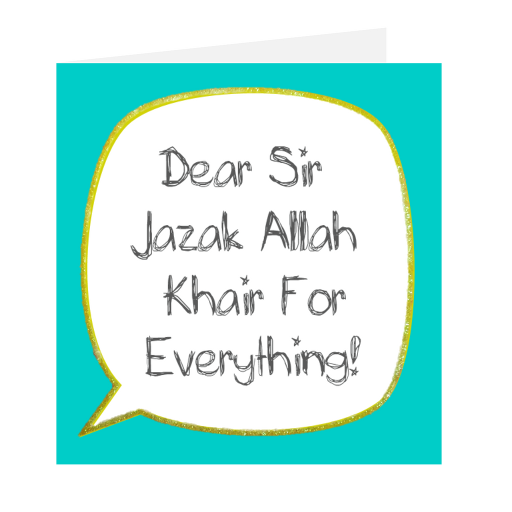 Dear Teacher - Dear Sir Jazak Allah Khair Blue
