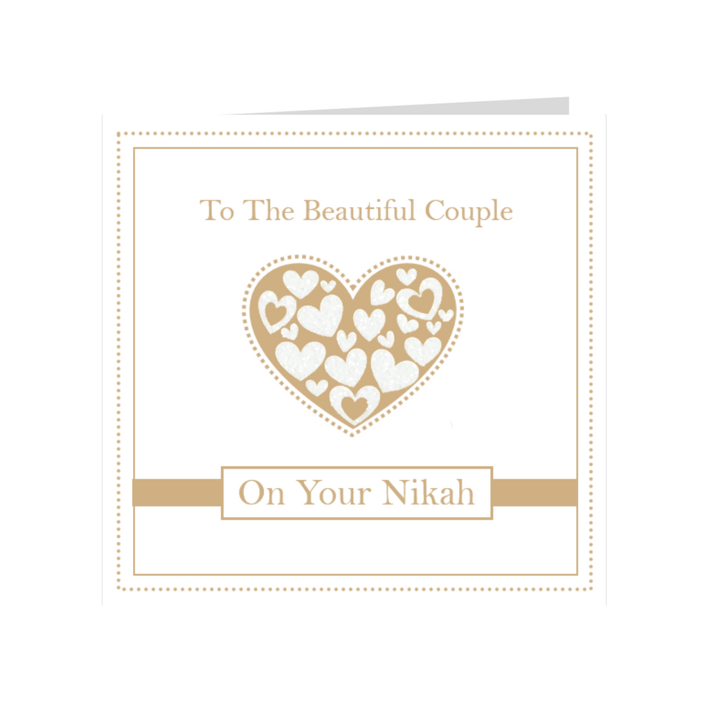 Elaara Beautiful Couple Gold Nikah Greeting Card